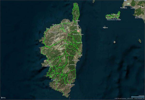 Routing Overlay Korsika Corsica