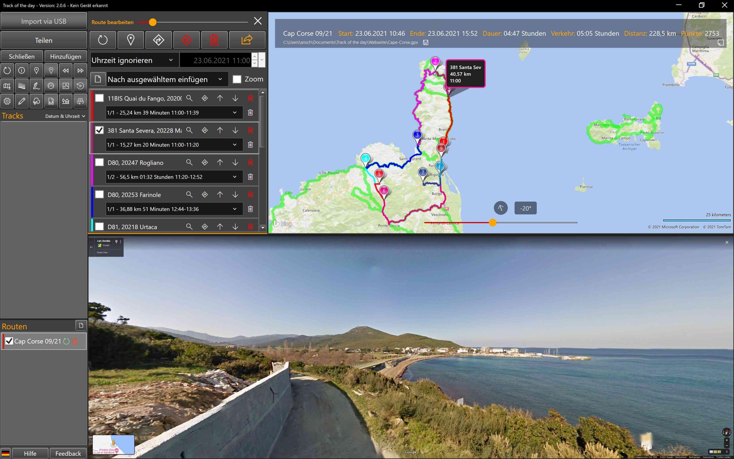 Routenplanung mit Google Streetview und Routing-Overlays