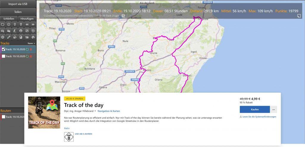 Der beste Routenplaner, Track of the day